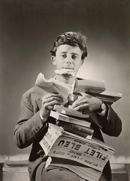 """""""Dévorez les livres comme Gérard Philipe"""" publicité de 1950 pour Gallimard"""