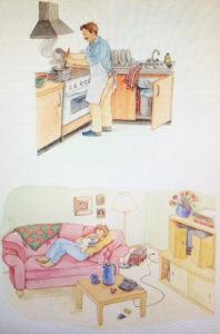 Proposition de comportement alternatif au cliché : papa cuisine pendant que maman se consacre pleinement à bébé