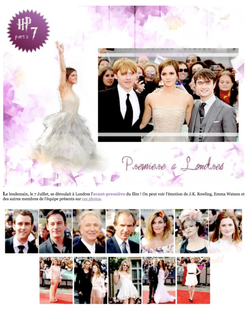 Création à l'occasion de l'avant-première du dernier film Harry Potter