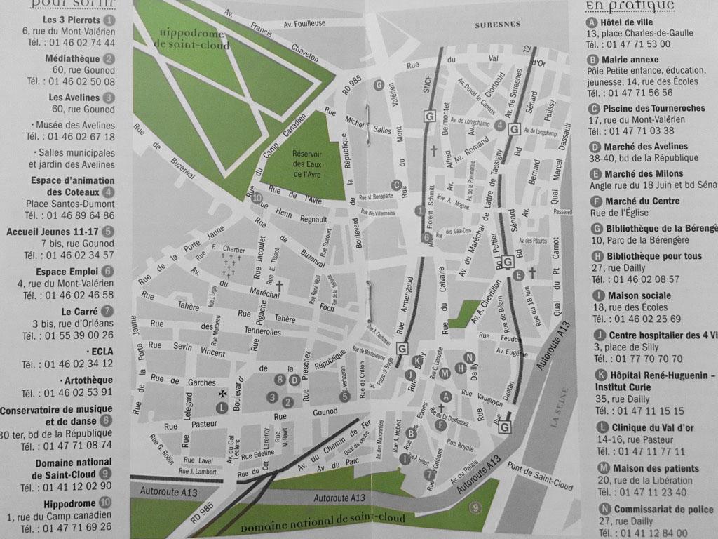 Plan de la ville de St Cloud et de ses activités